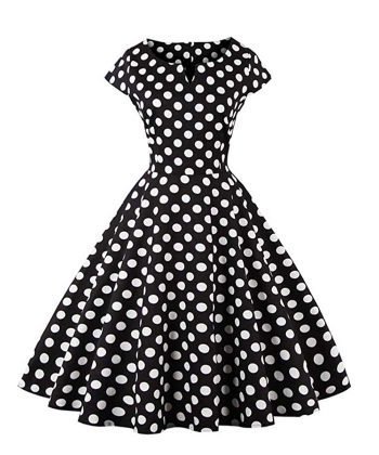 Women Black Dots Vintage Prom Dress