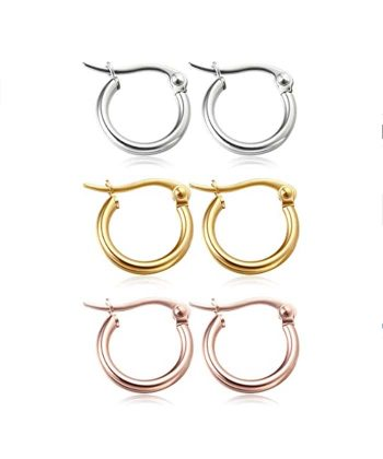 Women Earrings Stainless Steel Hoop