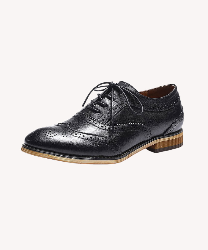 Oxfords Women Leather Perforated Lace-up Shoes