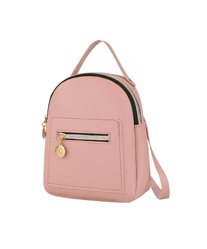 small leather backpack purse pink